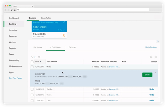 Quickbooks' Bank Account and Credit Card Management Interface