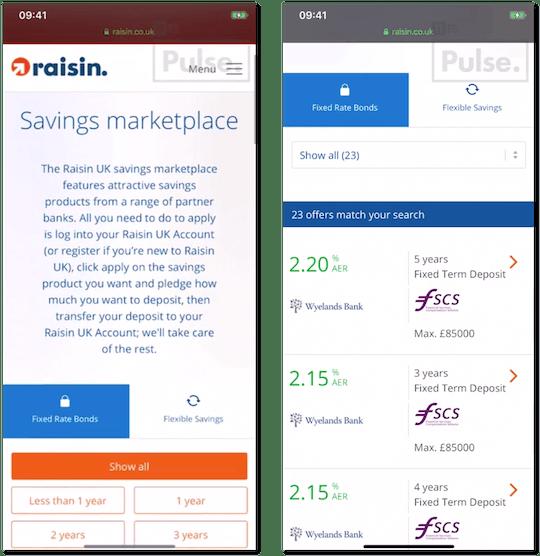 Raisin's web platform.