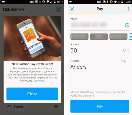 Swish's mobile payments app