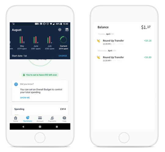 Monzo's Spending Summary Page and Chime's Round-Up Feature